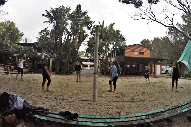 A game of volleyball at the Arts Factory Lodge backpacker accommodation in Byron Bay.