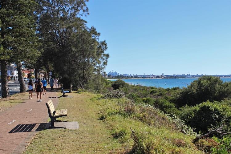 Walkers on the track behind Brighton Beach, Sydney.