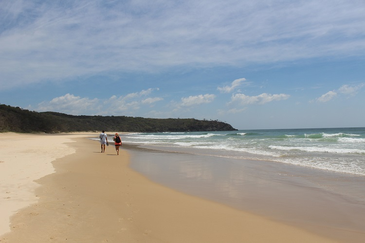 Walkers at Alexandria Bay on the Noosa coastal walk.