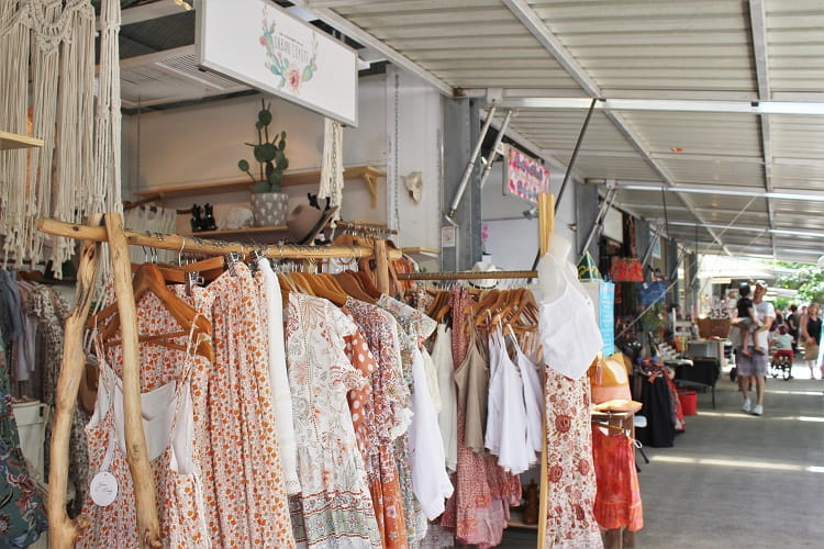 Beautiful stores on Napier Street at Eumundi Markets, Sunshine Coast.