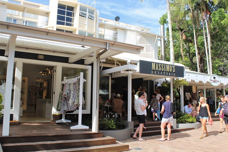 Shops and cafes on Hastings Street, Noosa Heads.