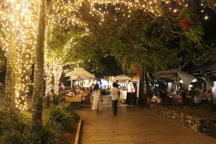 Beautiful Hastings Street at night in Noosa Heads.