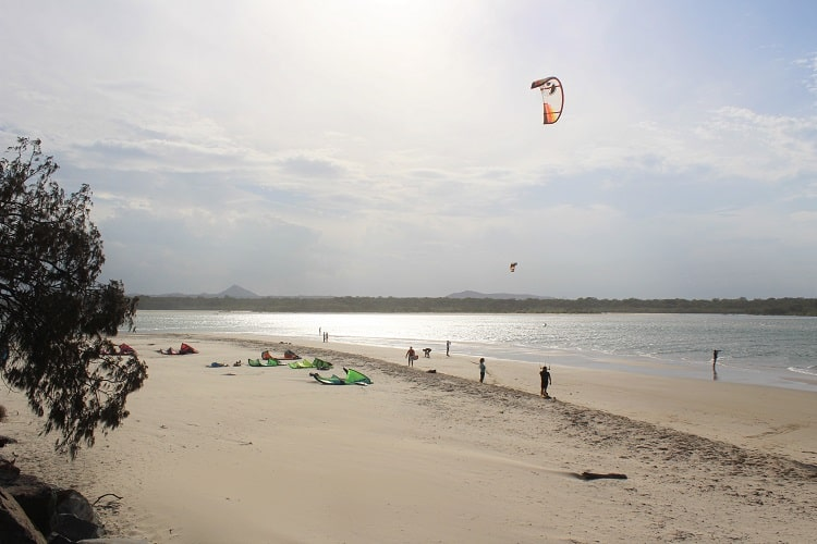 Kitesurfers at Noosa Rivermouth.
