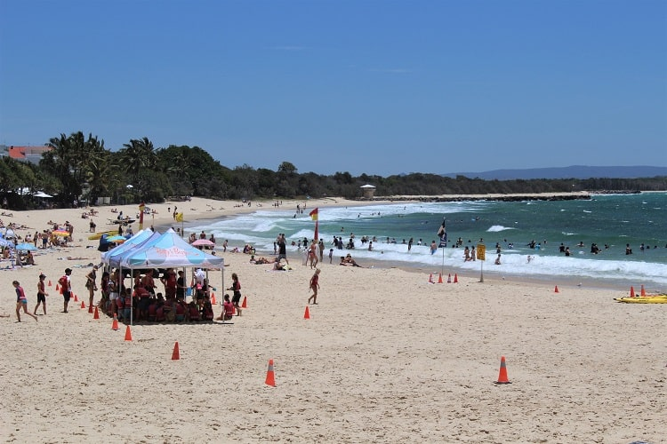 Busy Main Beach in Noosa Heads, Australia.