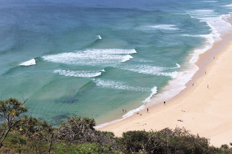 Looking down on Sunshine Beach from the Noosa Heads coastal walk in the national park.