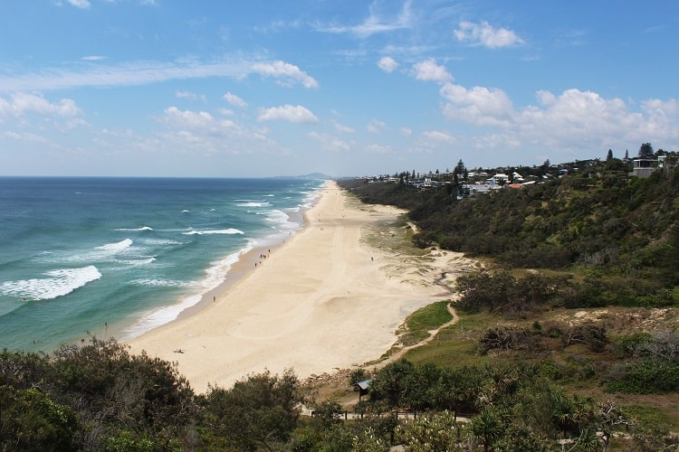 Looking down on Sunshine Beach from Noosa National Park coastal walk to Noosa Heads.