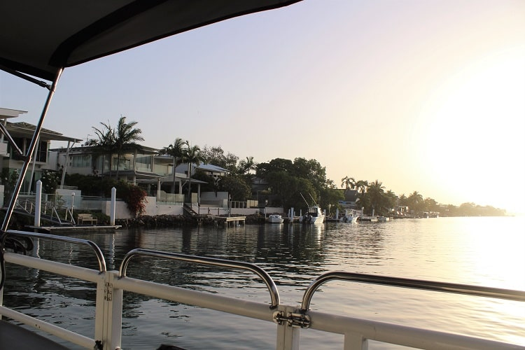 Heading off along Noosa River for the sunset cruise.