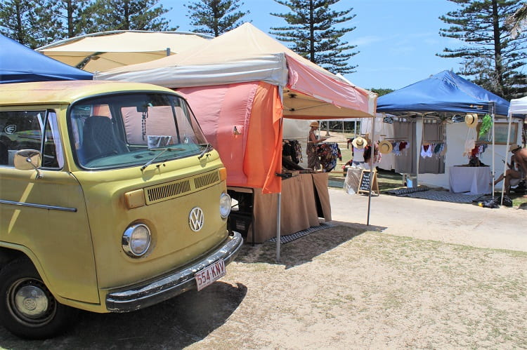 Kombi van at Peregian Beach Markets in Queensland, Australia.