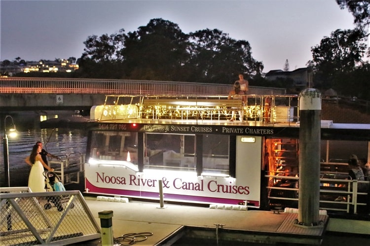 The Noosa River & Canal Cruises boat after a sunset cruise.